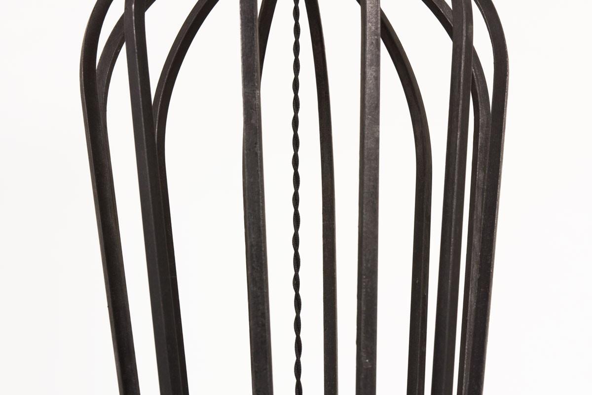 Lampadaire en métal noir et abat-jour papier beige 1950