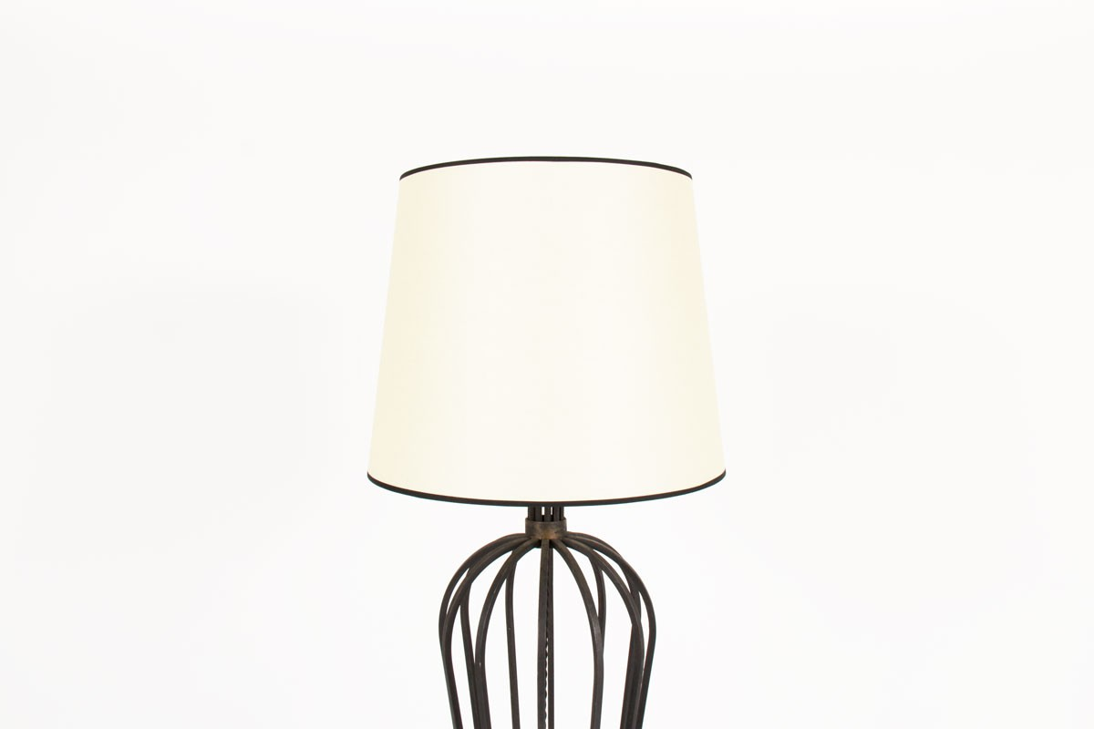 Floor lamp in black metal and beige paper lampshade 1950