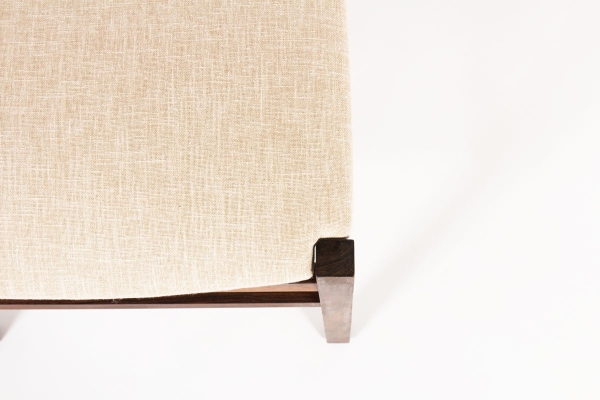 Gianfranco Frattini chairs rosewood and beige linen 1960 set of 10