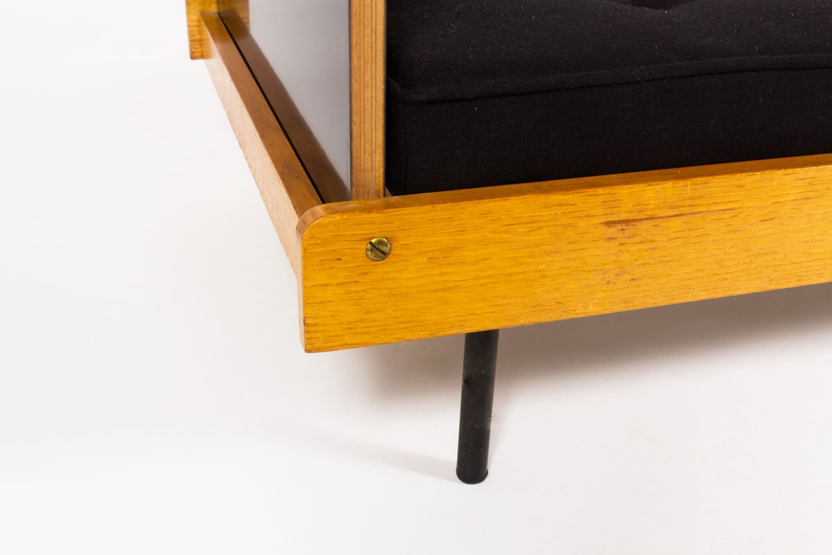 Roger Fatus daybed oak laminate and metal 1950