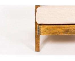 Armchairs in oak and beige linen design reconstruction 1950 set of 2