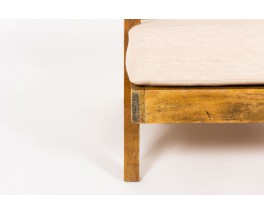Fauteuils en chêne et lin beige design reconstruction 1950 set de 2