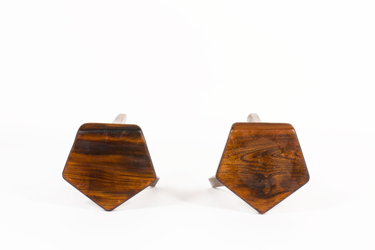 Olavi Hanninen stools in elm edition Mikko Nupponen 1950 set of 2