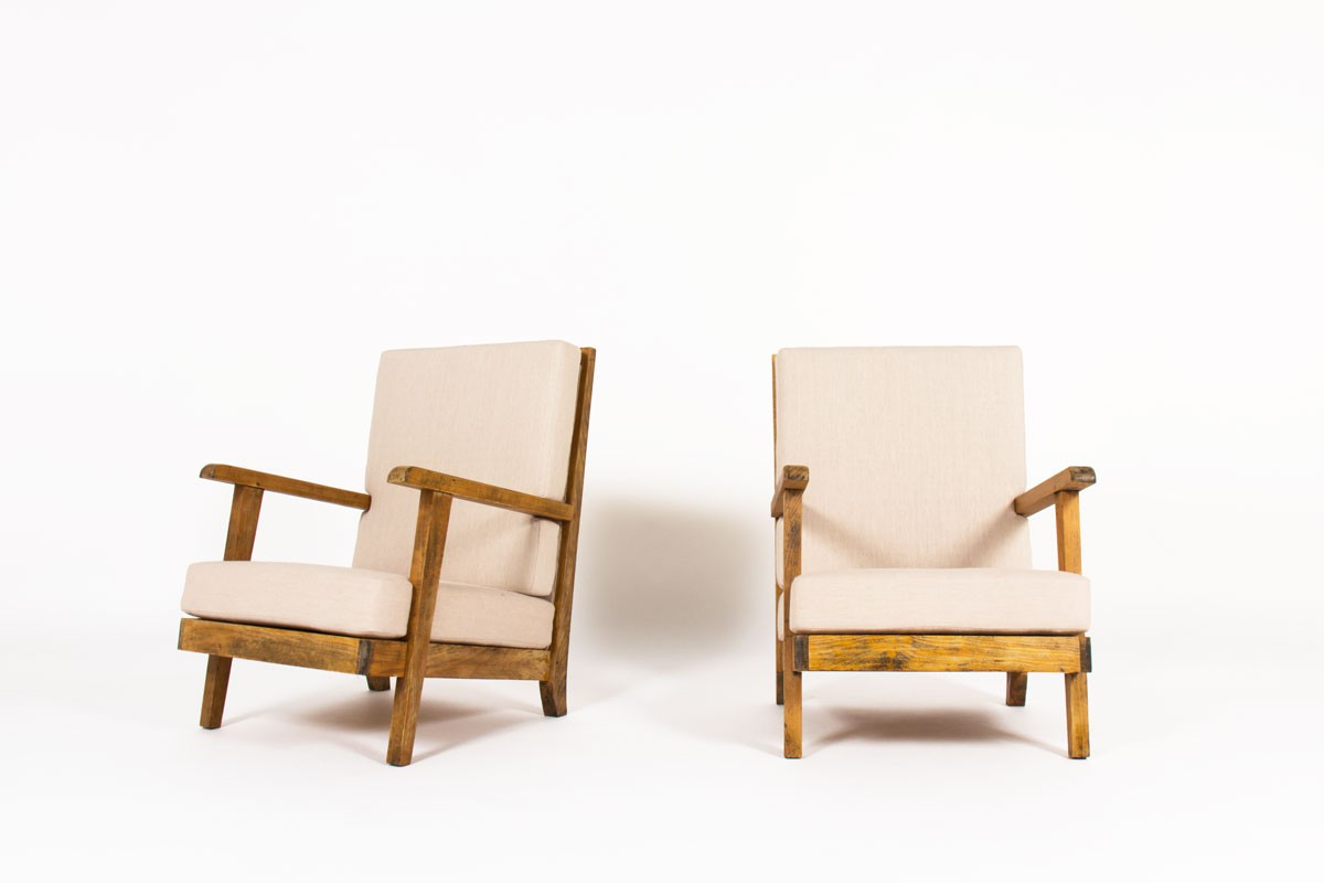 Armchairs in oak and beige linen design reconstruction 1950 set of 2