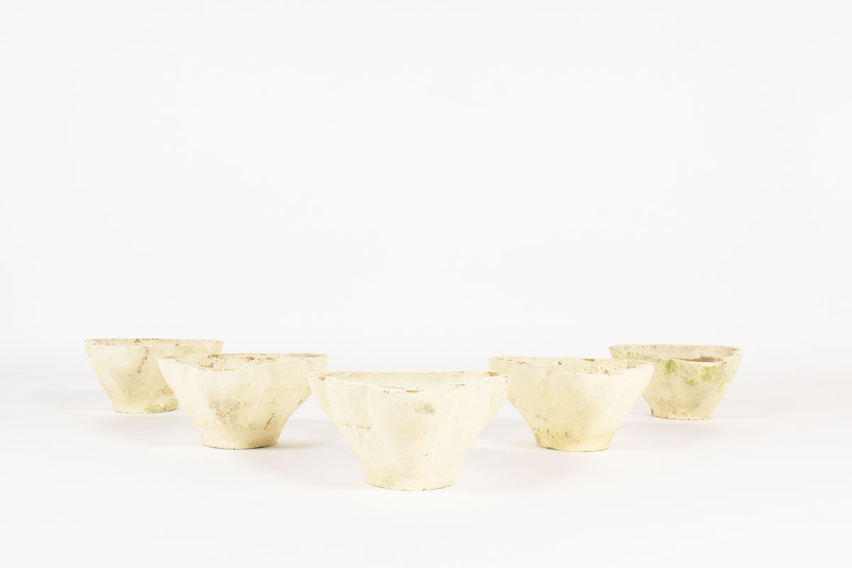 Planters in stone 1950 set of 5