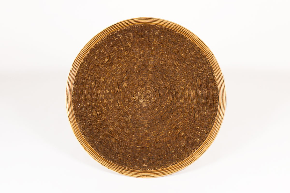 Round coffee table in rope 1950