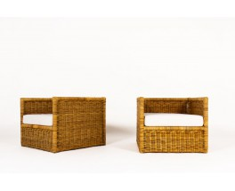 Armchairs in rattan and beige fabric 1950 set of 2