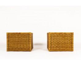 Fauteuils en rotin et tissu bouclette beige 1950 set de 2