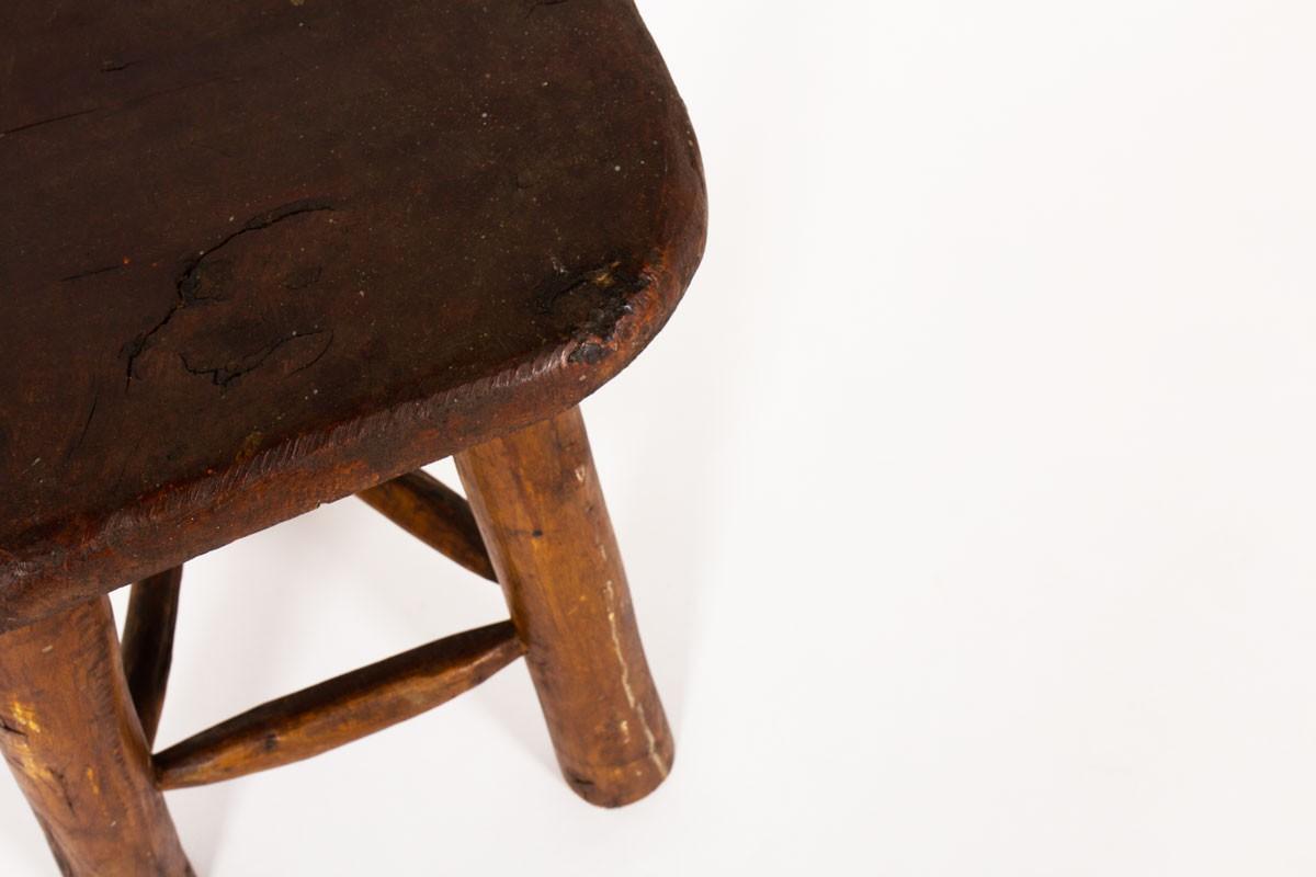 Tabouret brutaliste en pin teinté 1950