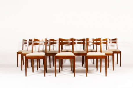 Charles Dudouyt chairs oak and linen 1950 set of 12