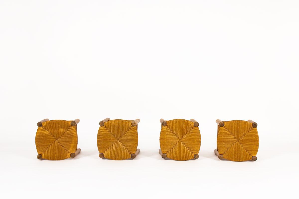 Tabourets en paille et hêtre teinté 1950 set de 4
