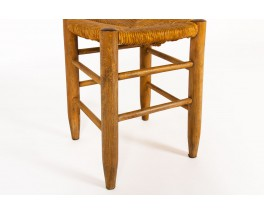 Stools in straw and tinted beech 1950 set of 4