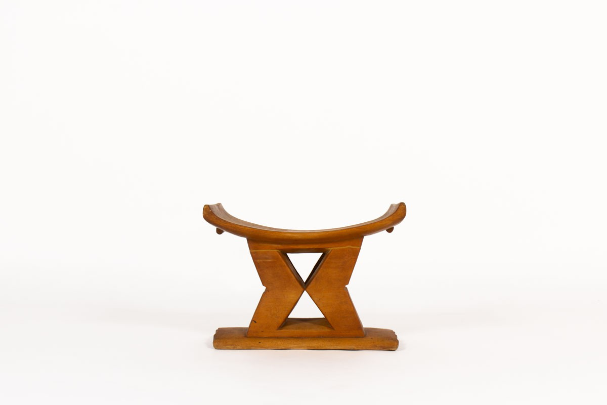 Stool in wood African design 1950