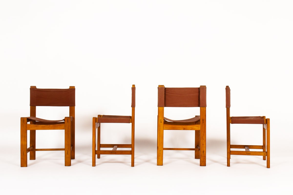 Chairs in elm and burgundy fabric edition Maison Regain 1980 set of 4