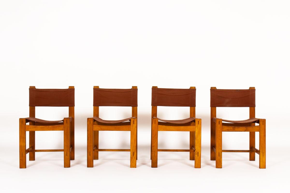 Chaises en orme et tissu bordeaux édition Maison Regain 1980 set de 4