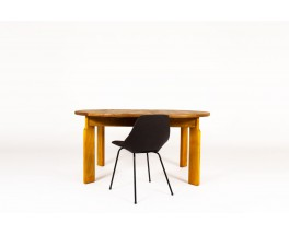 Round dining table with extension in elm edition Maison Regain 1980