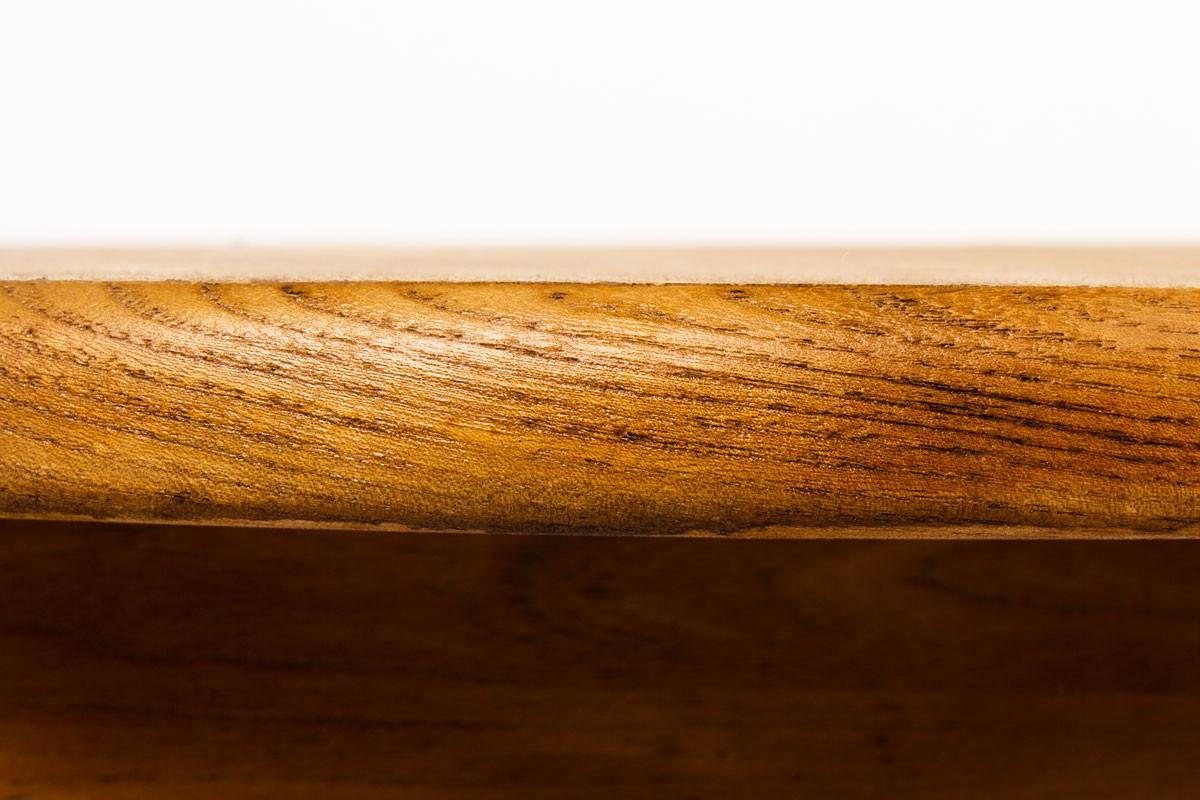 Table de repas ronde avec rallonge en orme édition Maison Regain 1980