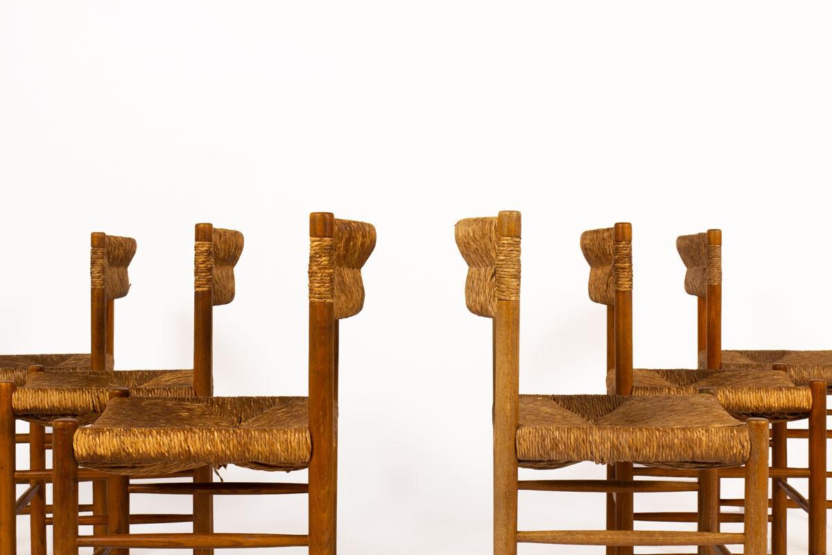 Chaises modèle Dordogne en frêne édition Sentou 1950 set de 6