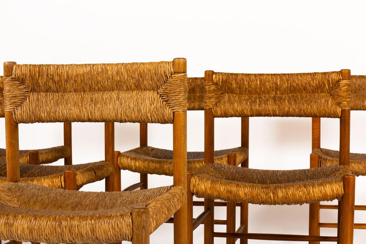 Chaises modèle Dordogne en frêne édition Sentou 1950 set of 6
