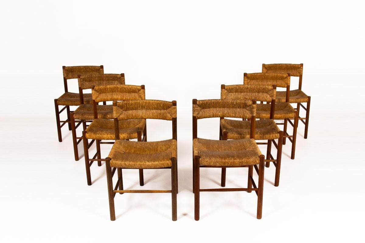 Chaises modèle Dordogne en frêne édition Sentou 1950 set of 8