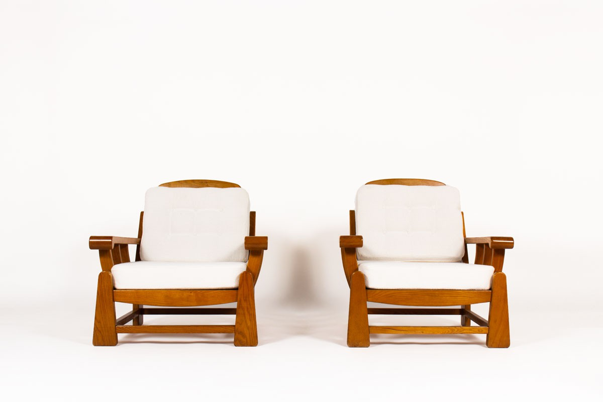 Armchairs in elm edition Maison Regain 1980 set of 2