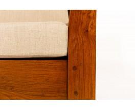 Fauteuils en orme et tissu lin 1950 set de 2
