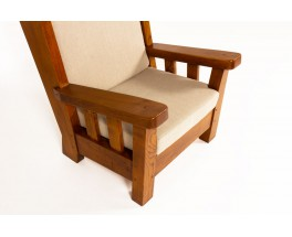 Armchairs in solid elm and linen fabric 1950 set of 2