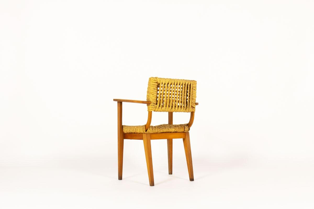 Fauteuil Audoux Minnet en chêne et cordes édition Vibo 1950