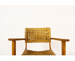 Audoux Minnet armchair in oak and ropes edition Vibo 1950
