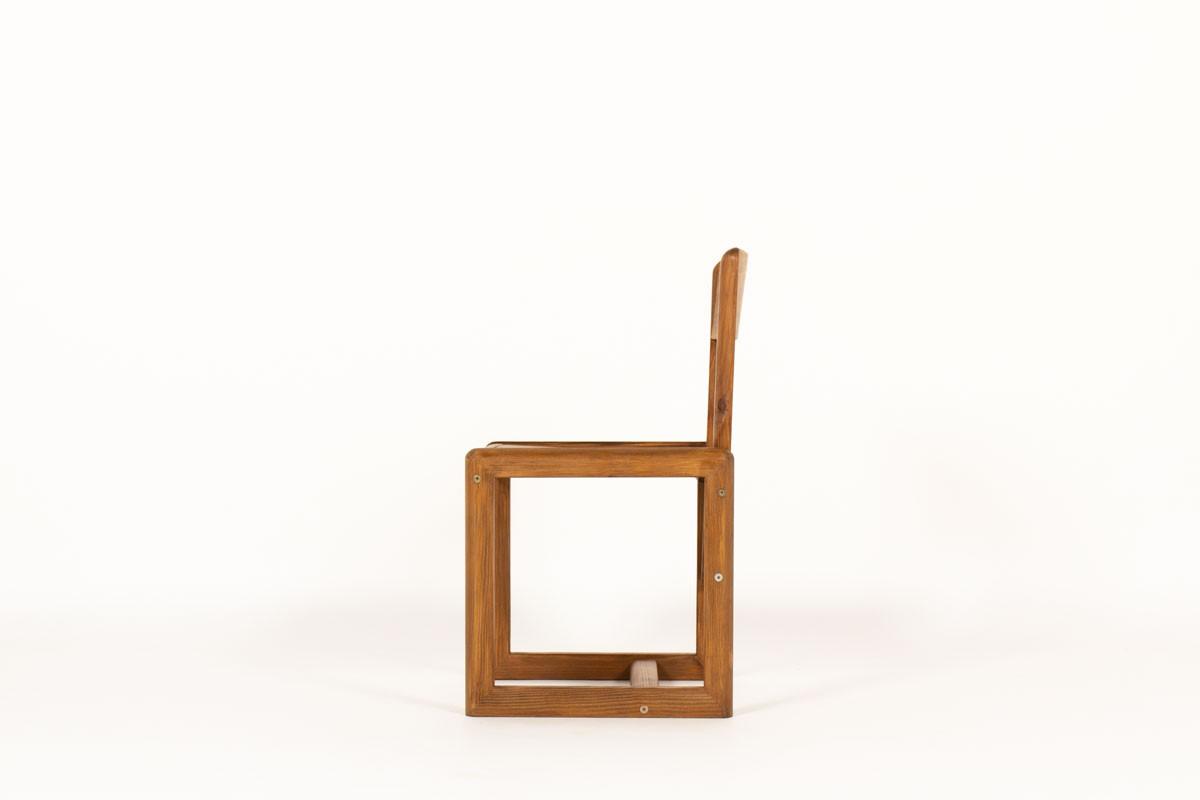 Chaises André Sornay en pin teinté 1960 set de 6