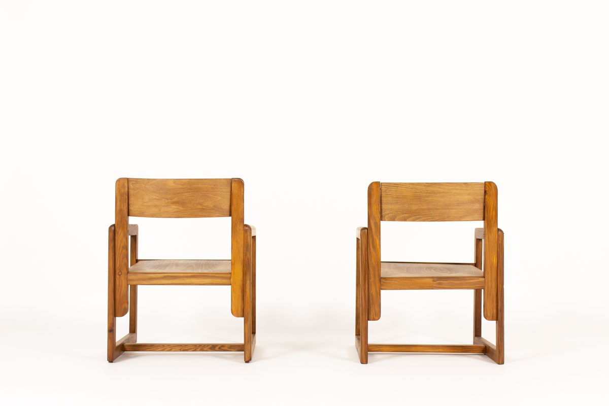 Andre Sornay armchairs in stained pine 1960 set of 2