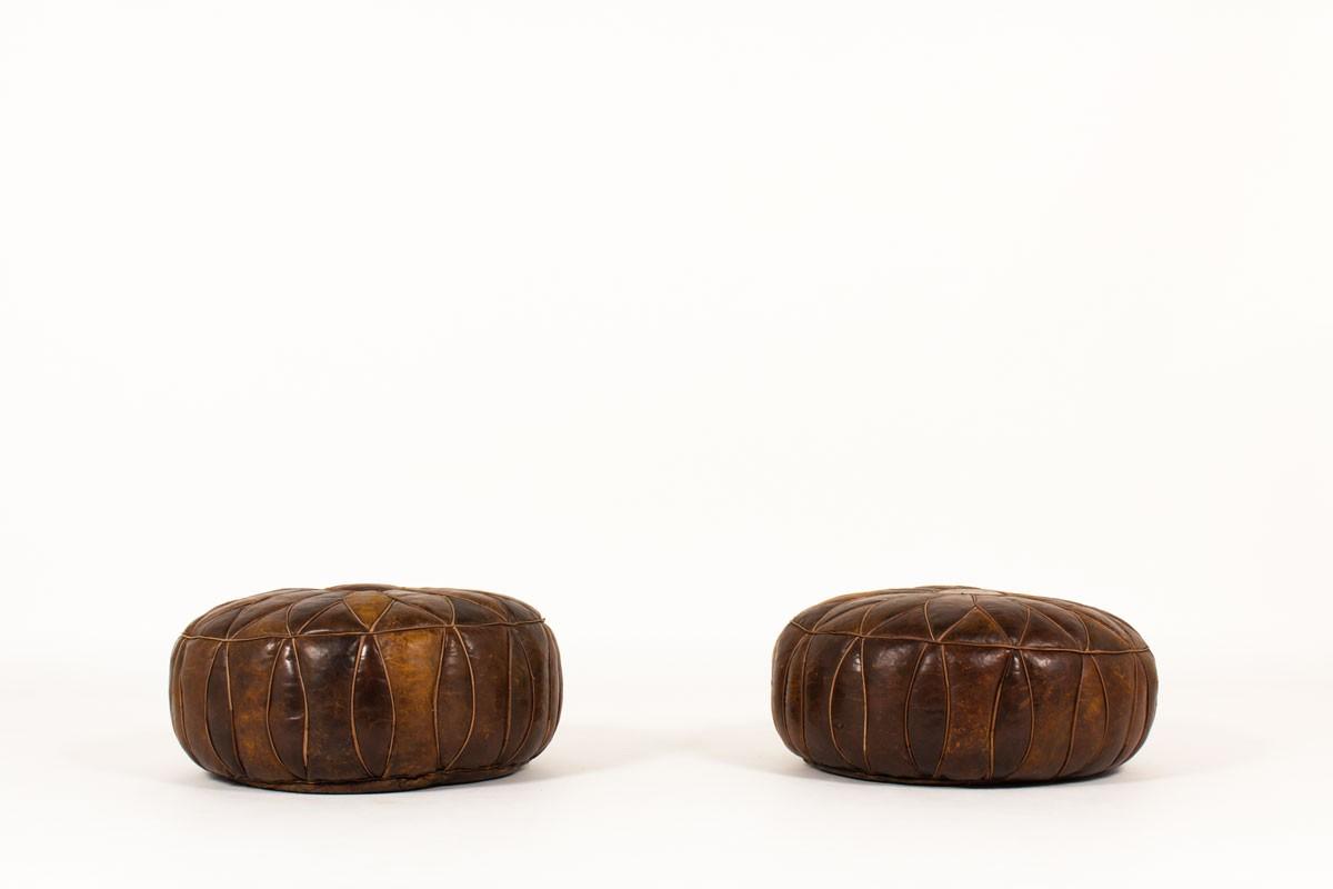 Poufs en cuir 1960 set de 2