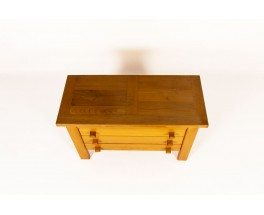Chest of drawers in elm and leather edition Maison Regain 1980