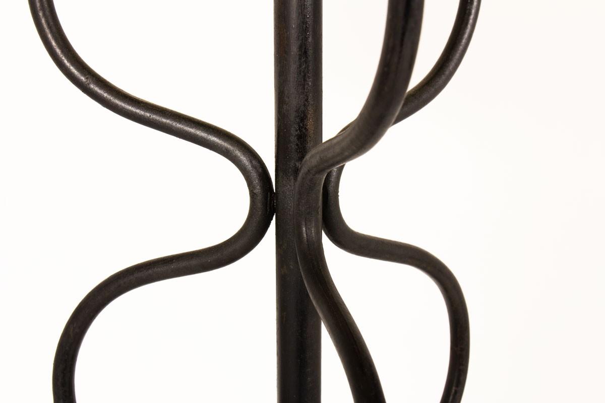 Lampadaire tripode métal noir et abat-jour beige 1950