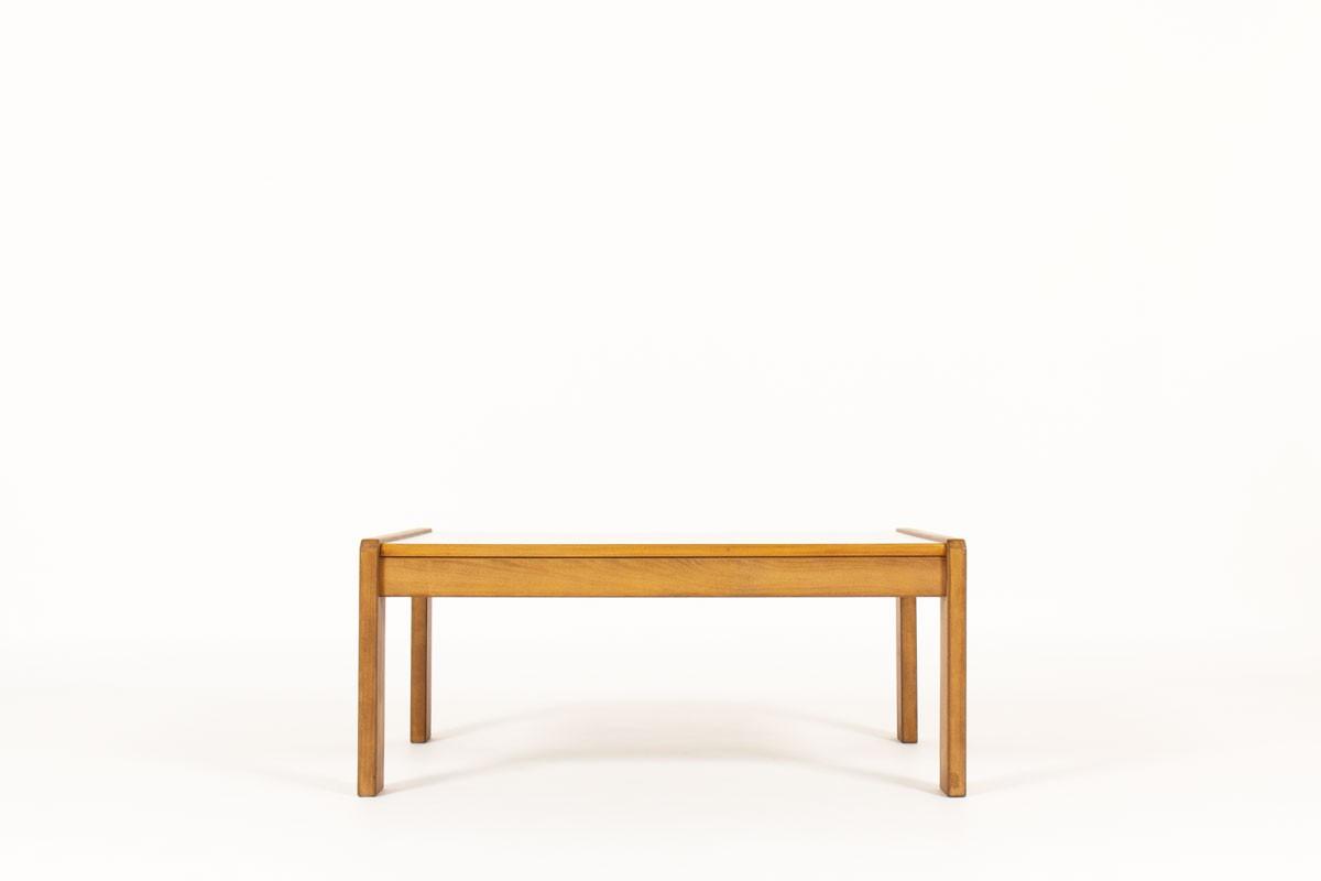 Table basse André Sornay grand modèle hêtre teinté et stratifié gris 1960
