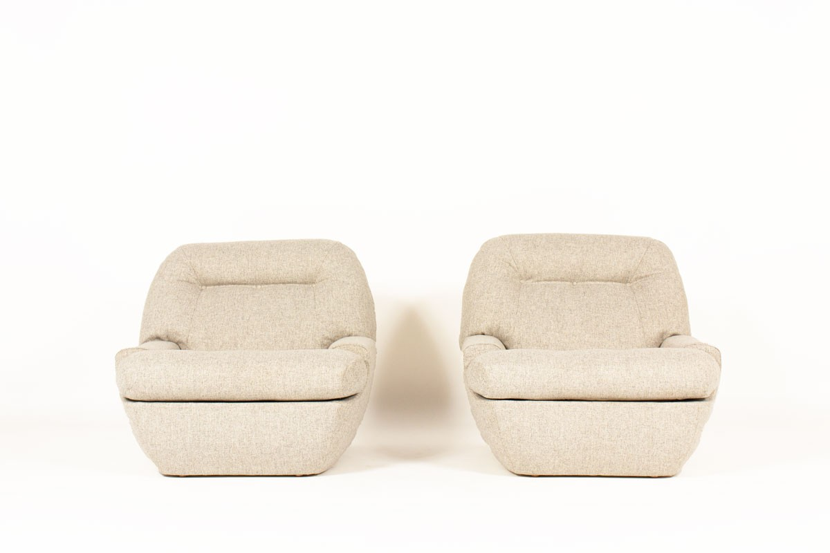 Low chairs Snowy fabric from Maison Thevenon 1970 set of 2