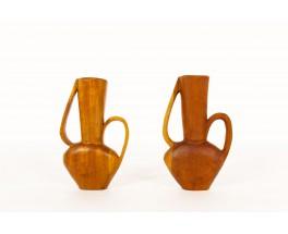 Monoxyl vases in mahogany African design 1950 set of 2
