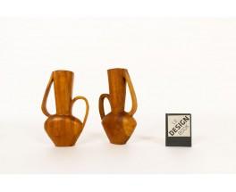 Vases monoxyles en acajou design africain 1950 set de 2