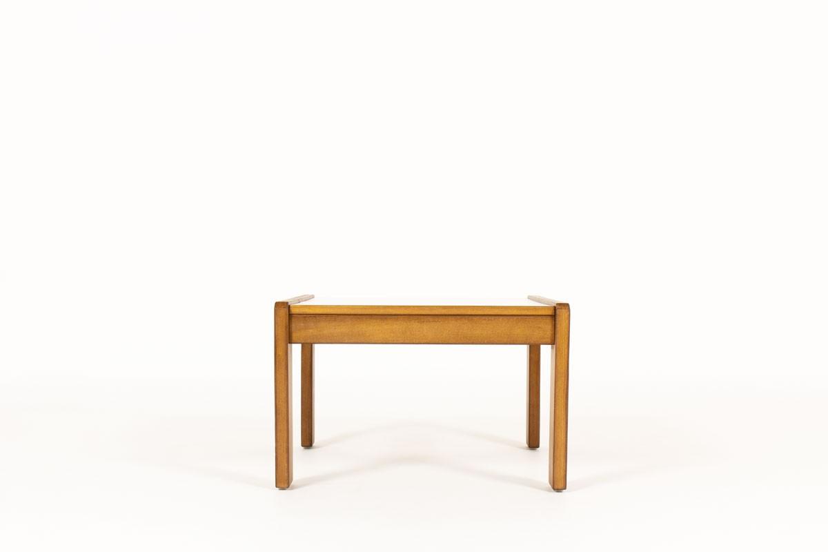 Table basse André Sornay petit modèle hêtre teinté et stratifié gris 1960