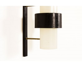 Appliques métal noir laiton et perspex édition Arlus 1950 set de 2