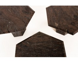 Tables basses en granit modèle hexagonal 1980 set de 3