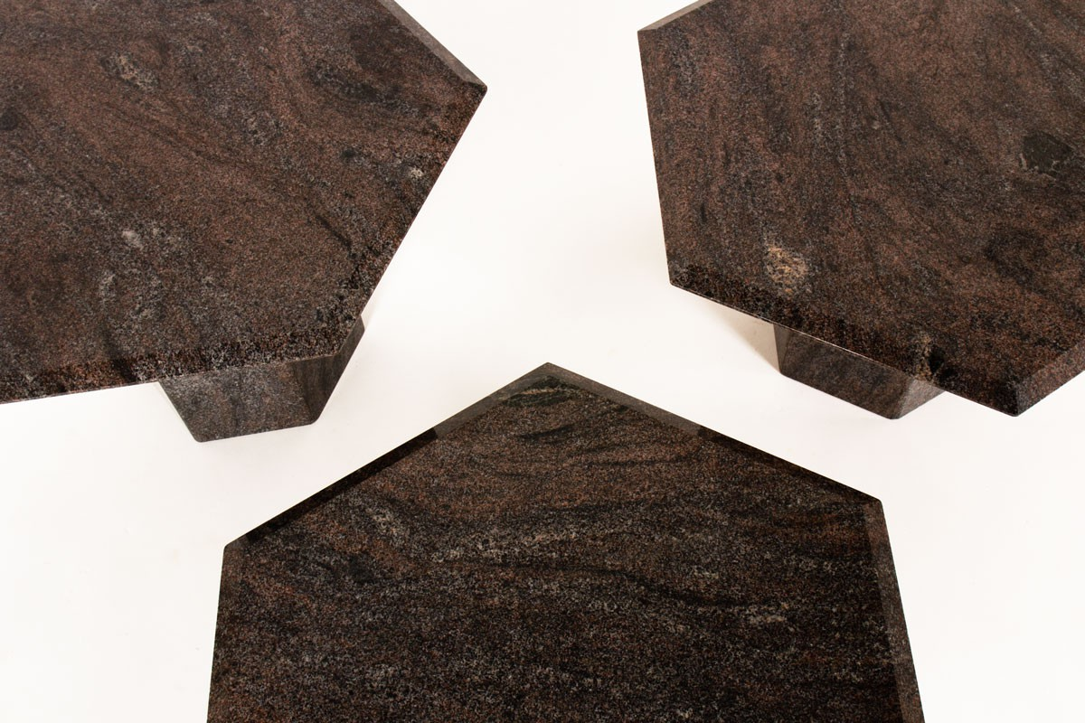 Coffee tables in granite model Hexagonal 1980 set of 3