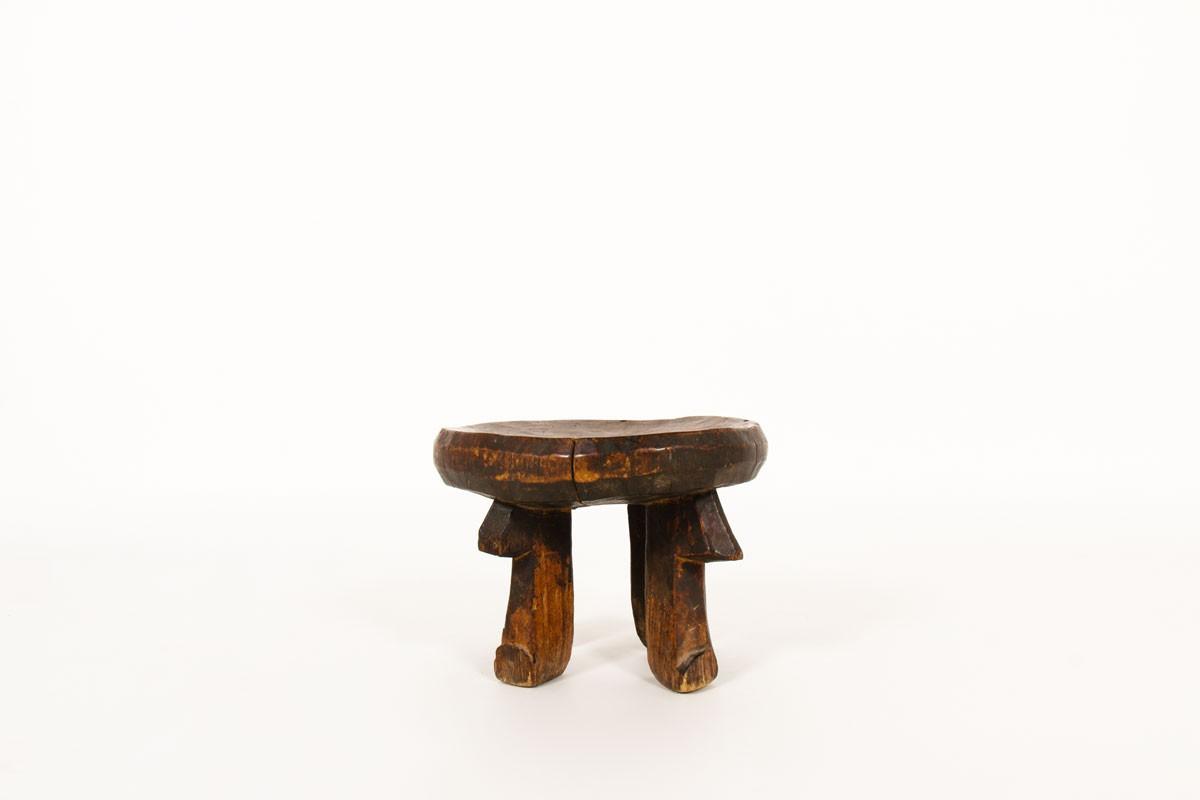 Tabouret monoxyle petit modèle en bois design africain