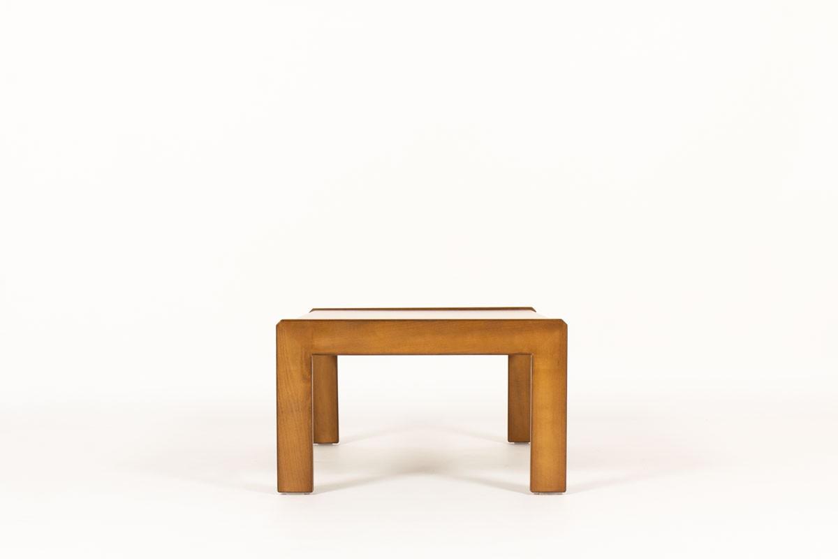 Table basse André Sornay grand modèle hêtre teinté et stratifié bordeaux 1960