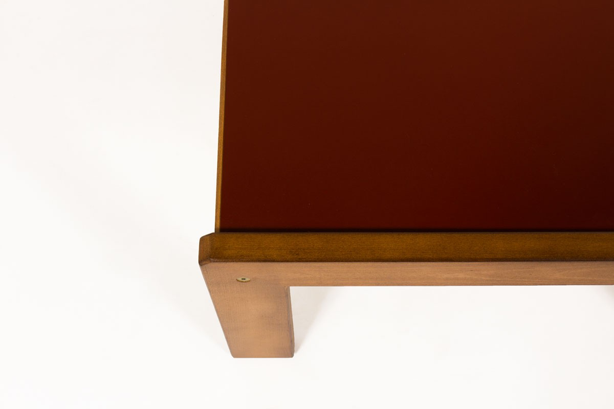 Andre Sornay coffee table large model tinted beech and burgundy laminate 1960