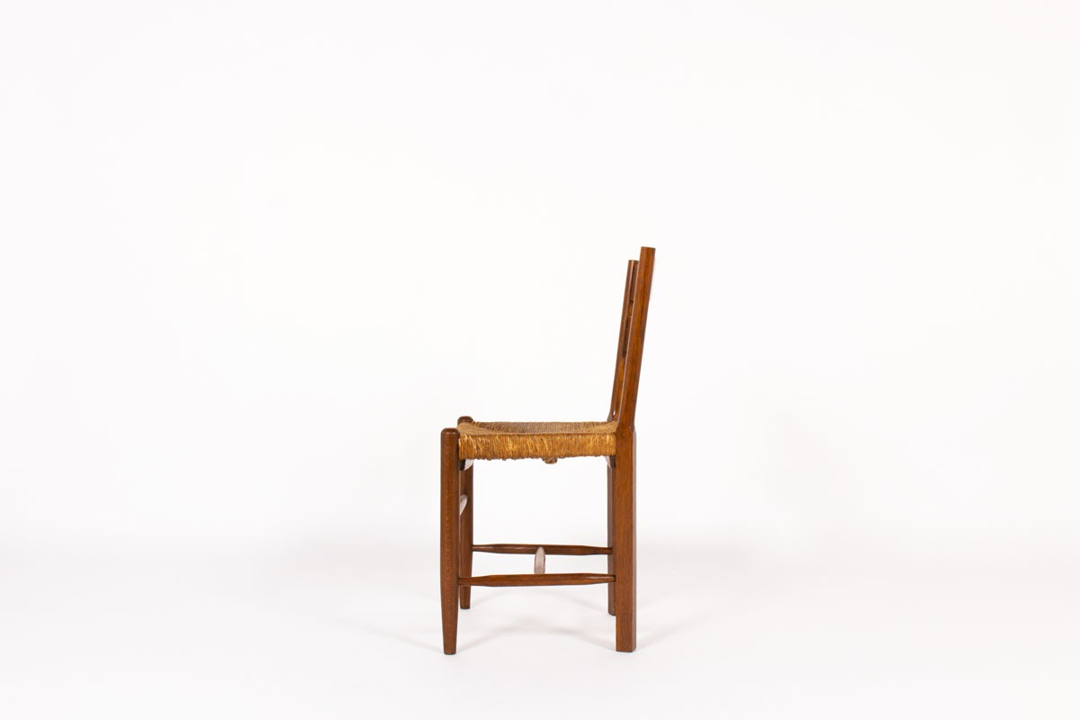Chairs in oak and straw seat 1950 set of 6