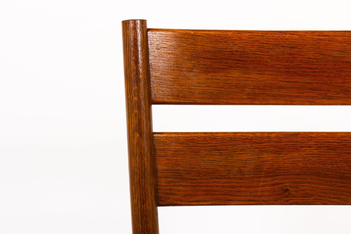 Chaises en chêne et assise paille 1950 set de 6