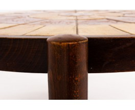 Roger Capron coffee table model Astrological oak and ceramic 1950
