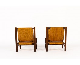 Armchairs in ash and straw 1950 set of 2