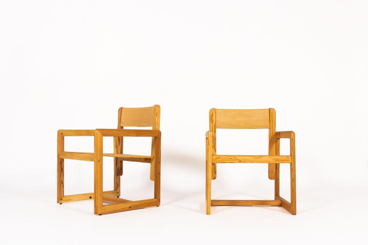 Fauteuils André Sornay en pin teinté 1960 set de 2